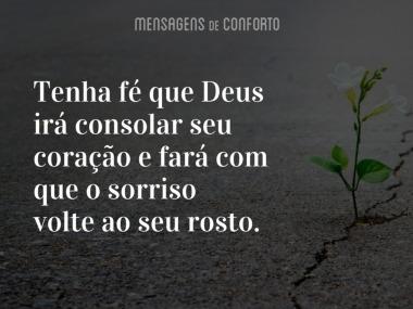 Deus irá consolar seu coração